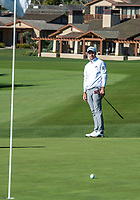 9th February 2020, Pebble Beach, Carmel, California, USA;  Nick Taylor watches his first putt run short of the cup on the 1st hole green during the championship round of the AT&T Pro-Am on Sunday
