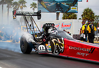 Sep 27, 2020; Gainesville, Florida, USA; NHRA top fuel driver Leah Pruett during the Gatornationals at Gainesville Raceway. Mandatory Credit: Mark J. Rebilas-USA TODAY Sports