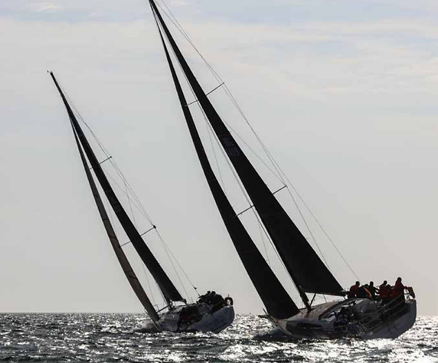 Dublin Bay sailing at its best – the stately contenders in Cruisers Zero step out in style. Photo: Afloat.ie/David O'Brien
