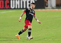 WASHINGTON, DC - SEPTEMBER 06: Ulises Segura #8 of D.C. United dribbles during a game between New York City FC and D.C. United at Audi Field on September 06, 2020 in Washington, DC.