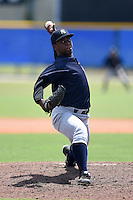 GCL Yankees 2 pitcher Hector Martinez (48) delivers a pitch during a game against the GCL Blue Jays on July 2, 2014 at the Bobby Mattick Complex in Dunedin, Florida.  GCL Yankees 2 defeated GCL Blue Jays 9-6.  (Mike Janes/Four Seam Images)