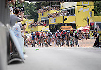 Mike Teunissen (NED/Jumbo-Visma) wins the bunch sprint into Brussels with the smallest of margins ahead of Peter Sagan (SVK/Bora-Hansgrohe)<br /> <br /> Stage 1: Brussels to Brussels (BEL/192km) 106th Tour de France 2019 (2.UWT)<br /> <br /> ©kramon