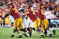 LOS ANGELES, CA - SEPTEMBER 11: Tangaloa Kaufusi during a game between University of Southern California and Stanford Football at Los Angeles Memorial Coliseum on September 11, 2021 in Los Angeles, California.
