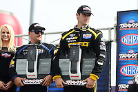 Sept. 1, 2012; Claremont, IN, USA: NHRA top fuel dragster driver Morgan Lucas (right) with Brandon Bernstein during qualifying for the US Nationals at Lucas Oil Raceway. Mandatory Credit: Mark J. Rebilas-