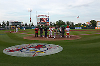 General view during the national anthem before a Springfield Cardinals game against the Frisco RoughRiders  on June 3, 2015 at Hammons Field in Springfield, Missouri.  Springfield defeated Frisco 7-2.  (Mike Janes/Four Seam Images)