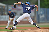 Asheville Tourists starting pitcher Zach Jemiola #27 delivers a pitch during a game against the Kannapolis Intimidators at McCormick Field on June 5, 2014 in Asheville, North Carolina. The Intimidators defeated the Tourists 5-3. (Tony Farlow/Four Seam Images)