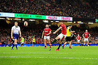 Dan Biggar of Wales kicks a penalty during the Guinness Six Nations Championship Round 3 match between Wales and France at the Principality Stadium in Cardiff, Wales, UK. Saturday 22 February 2020