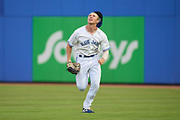 Dunedin Blue Jays outfielder MacKenzie Mueller (27) tracks a shallow fly ball during a game against the Bradenton Marauders on June 5, 2021 at TD Ballpark in Dunedin, Florida.  (Mike Janes/Four Seam Images)