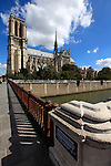 Small Bridge Petit Pont over River Seine with Natre Dame Cathedral in the background. city of Paris. Paris. France