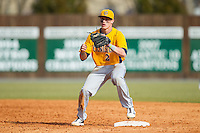 Canisius Golden Griffins shortstop Ronnie Bernick (2) waits for a throw at second base against the Charlotte 49ers at Hayes Stadium on February 23, 2014 in Charlotte, North Carolina.  The Golden Griffins defeated the 49ers 10-1.  (Brian Westerholt/Four Seam Images)