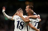30th September 2021; Tottenham Hotspur Stadium. Tottenham, London, England; UEFA Conference League football, Tottenham v NS Mura: Harry Kane of Tottenham Hotspur celebrates with team mates after he scores for 3-1 in the 68th minute