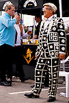 The Derby Horse race Epsom Downs Surrey Uk. Pearly Kings and Queens. 1980s