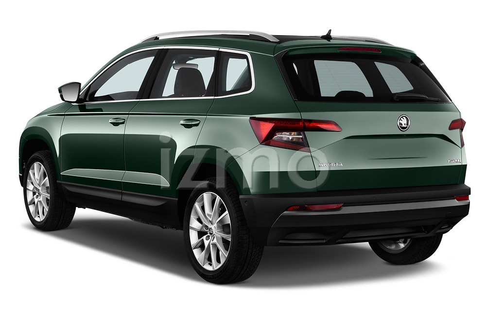 Car pictures of rear three quarter view of a 2018 Skoda Karoq Style 5 Door SUV angular rear