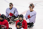 PyeongChang 8/3/2018 - Goaltenders Corbin Watson, of Kingsville, ON, and Dominic Larocque, of Quebec City, as Canada's sledge hockey team practices ahead of the start of competition at the Gangneung practice venue during the 2018 Winter Paralympic Games in Pyeongchang, Korea. Photo: Dave Holland/Canadian Paralympic Committee
