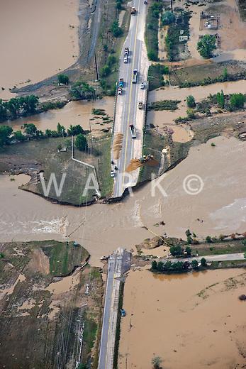 Flooding along St Vrain River in Weld County, Colorado near Platteville, Colorado.  Colorado Blvd. Hwy 13