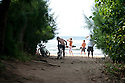 People checking the surf at Backyards in Hawaii.
