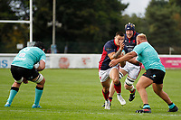 Dan Barnes of London Scottish braces for impact during the Championship Cup match between London Scottish Football Club and Nottingham Rugby at Richmond Athletic Ground, Richmond, United Kingdom on 28 September 2019. Photo by Carlton Myrie / PRiME Media Images