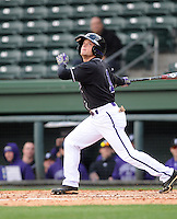 Infielder Hunter Burton (1) of the Furman University Paladins hits in a game against the Northwestern Wildcats on Saturday, February 16, 2013, at Fluor Field in Greenville, South Carolina. The game was cancelled in the fifth inning due to snow. (Tom Priddy/Four Seam Images)