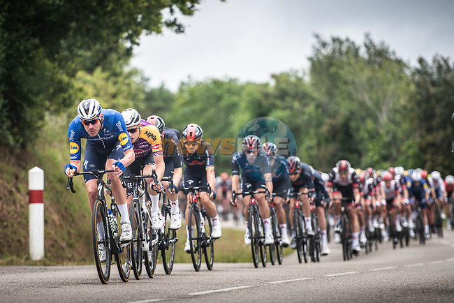 Tim Declercq (BEL) Deceuninck-Quick-Step leads the peloton during Stage 1 of the 2021 Tour de France, running 197.8km from Brest to Landerneau, France. 26th June 2021.  <br /> Picture: A.S.O./Charly Lopez   Cyclefile<br /> <br /> All photos usage must carry mandatory copyright credit (© Cyclefile   A.S.O./Charly Lopez)