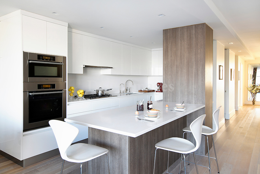 Contemporary kitchen with bar