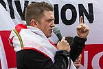© Joel Goodman - 07973 332324 . 04/06/2011 . Dewsbury , UK . EDL leader TOMMY ROBINSON (aka STEPHEN YAXLEY-LENNON) addresses supporters at the demonstration . The English Defence League hold a demonstration in Dewsbury  . Photo credit : Joel Goodman