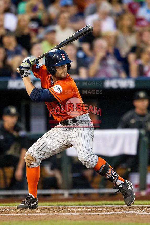 Cal State Fullerton Titans second baseman Taylor Bryant (1) at bat during the NCAA College baseball World Series against the Vanderbilt Commodores on June 14, 2015 at TD Ameritrade Park in Omaha, Nebraska. The Titans were leading 3-0 in the bottom of the sixth inning when the game was suspended by rain. (Andrew Woolley/Four Seam Images)