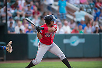 Billings Mustangs second baseman Dylan Harris (27) at bat during a Pioneer League game against the Ogden Raptors at Lindquist Field on August 17, 2018 in Ogden, Utah. The Billings Mustangs defeated the Ogden Raptors by a score of 6-3. (Zachary Lucy/Four Seam Images)