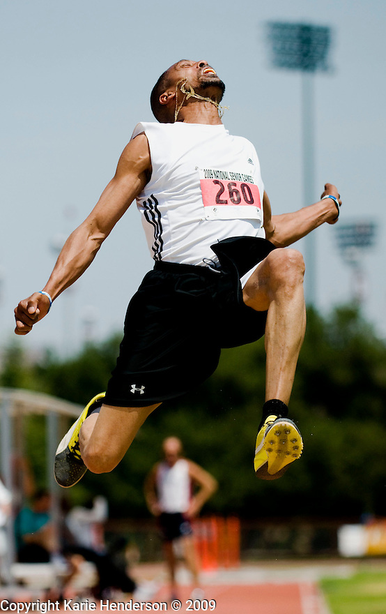 Robert Clark, 55, won the gold for his men's long jump bracket during the Senior Games 2009, at Stanford University's Cobb Track and Angell Field, Palo Alto, Calif., on Sunday, August 09 2009.
