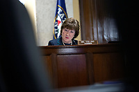 United States Senator Susan Collins (Republican of Maine) listens during a United States Senate Aging Committee hearing at the United States Capitol in Washington D.C., U.S. on Thursday, May 21, 2020.  Credit: Stefani Reynolds / CNP/AdMedia