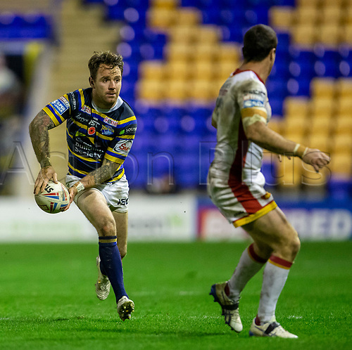 13th November 2020; The Halliwell Jones Stadium, Warrington, Cheshire, England; Betfred Rugby League Playoffs, Catalan Dragons versus Leeds Rhinos; Richie Myler of Leeds Rhinos passes the ball