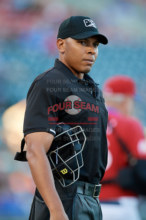 Umpire Jeremie Rehak during a game between the Syracuse Chiefs and Buffalo Bisons on July 6, 2018 at Coca-Cola Field in Buffalo, New York.  Buffalo defeated Syracuse 6-4.  (Mike Janes/Four Seam Images)