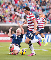 Abby Wambach, Rhonda Jones.  The USWNT defeated Scotland, 4-1, during a friendly at EverBank Field in Jacksonville, Florida.