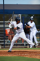 New York Yankees Isiah Gilliam (25) at bat during an Instructional League game against the Baltimore Orioles on September 23, 2017 at the Yankees Minor League Complex in Tampa, Florida.  (Mike Janes/Four Seam Images)
