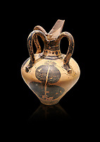 Minoan long spouted rhython decorated with a pomegranate, Zakros Palace  1500-1450 BC; Heraklion Archaeological  Museum, black background.