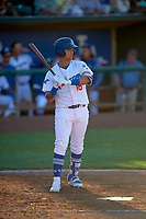 Andy Pages (18) of the Ogden Raptors bats against the Grand Junction Rockies at Lindquist Field on June 15, 2019 in Ogden, Utah. The Raptors defeated the Rockies 12-11. (Stephen Smith/Four Seam Images)