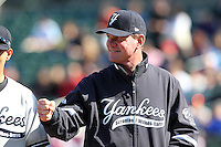 Scranton Wilkes-Barre Yankees manager Dave Miley #11 during introductions before a game against the Rochester Red Wings at Frontier Field on April 9, 2011 in Rochester, New York.  Rochester defeated Scranton 7-6 in twelve innings.  Photo By Mike Janes/Four Seam Images
