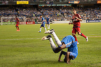 Ramires (7) of Chelsea FC does a roll. Chelsea FC and Paris Saint-Germain played to a 1-1 tie during a 2012 Herbalife World Football Challenge match at Yankee Stadium in New York, NY, on July 22, 2012.