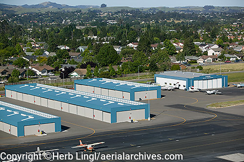 aerial photograph T hangars, Petaluma airport, Sonoma county, California
