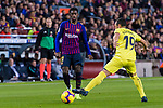 Ousmane Dembele of FC Barcelona (L) in action against Santi Cazorla of Villarreal (R) during the La Liga 2018-19 match between FC Barcelona and Villarreal at Camp Nou on 02 December 2018 in Barcelona, Spain. Photo by Vicens Gimenez / Power Sport Images
