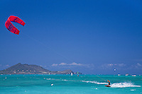 Kite surfer sailing in Kailua