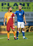 St Johnstone v Galatasaray…12.08.21  McDiarmid Park Europa League Qualifier<br />Shaun Rooney and Arda Turan<br />Picture by Graeme Hart.<br />Copyright Perthshire Picture Agency<br />Tel: 01738 623350  Mobile: 07990 594431