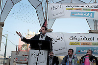 Aiman Uda, no. 1 in the joint Arab list during a camaing rally in the northern Arab town of Dir Hanna as he campaigns with other mebers of the list ahead of the Israeli elections, February 27, 2015. Photo by Quique Kierszenbaum