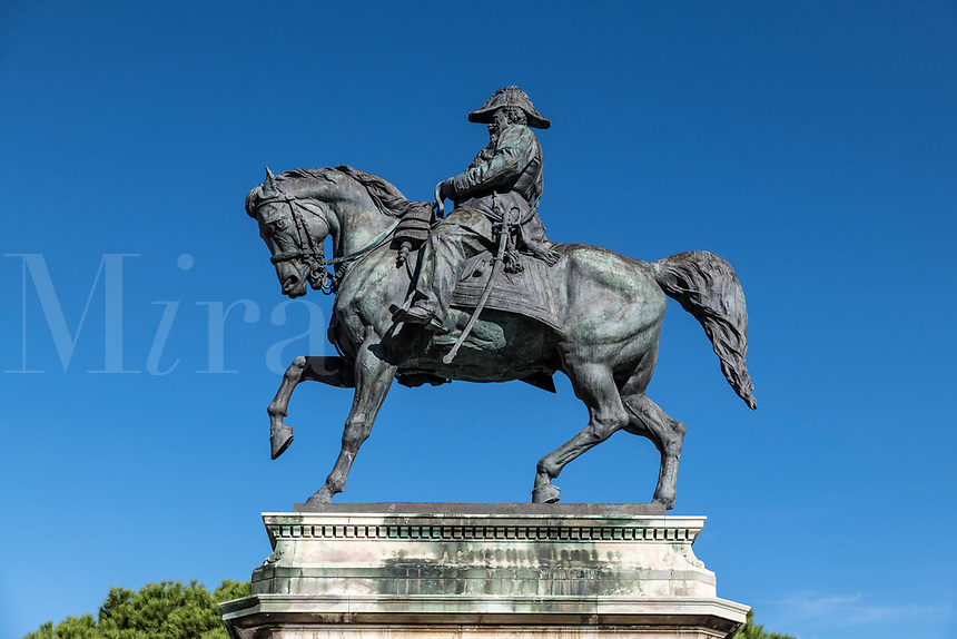 Statue of Vittorio Emanuele II by Augusto Rivalta, Livorno city, Tuscany, Italy, Europe.