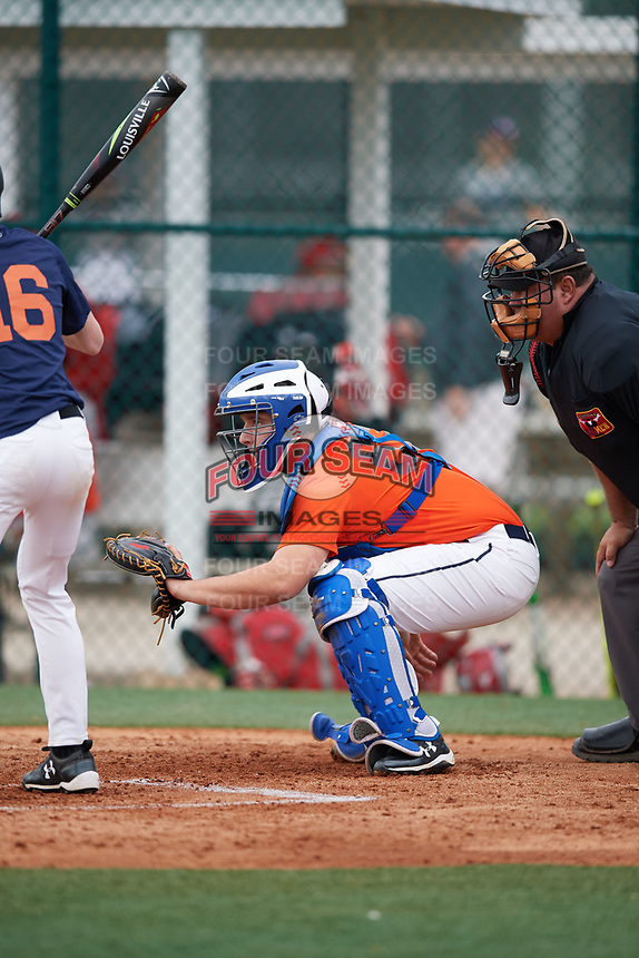 Henry Goodier (67), from Chadds Ford, Pennsylvania, while playing for the Orioles during the Baseball Factory Pirate City Christmas Camp & Tournament on December 29, 2017 at Pirate City in Bradenton, Florida.  (Mike Janes/Four Seam Images)