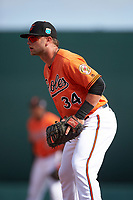 Baltimore Orioles first baseman Christian Walker (34) during a Spring Training game against the Minnesota Twins on March 7, 2016 at Ed Smith Stadium in Sarasota, Florida.  Minnesota defeated Baltimore 3-0.  (Mike Janes/Four Seam Images)