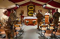 MALI, Gao, Minusma UN peace keeping mission, Camp Castor, german army Bundeswehr , camp church, holy mass / Martinskirche, Gottesdienst
