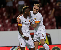 29th August 2021;  Estadio Arechi, Salerno, Campania, Italy;  Serie A Football league, Salernitana versus Roma; Tammy Abraham of AS Roma celebrates after scoring for  3-0 in 69th minute with Rick Karsdrop of AS Roma
