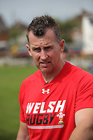 Pictured: Referee Nigel Owens in Cardiff, Wales, UK. Wednesday 24 August 2016<br />Re: The largest rugby scrum has been achieved by Golden Oldies at University Fields in Cardiff south Wales, UK. It was refereed by welsh international referee Nigel Owens. Guinness World Records has verified the new record in which 1297 people took part in.