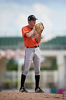 Baltimore Orioles pitcher Jake Zebron (65) looks in for the sign during a Florida Instructional League game against the Boston Red Sox on September 21, 2018 at JetBlue Park in Fort Myers, Florida.  (Mike Janes/Four Seam Images)