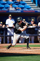 Army West Point shortstop Trey Martin (6) squares to bunt during a game against the Michigan Wolverines on February 18, 2018 at First Data Field in St. Lucie, Florida.  Michigan defeated Army 7-3.  (Mike Janes/Four Seam Images)